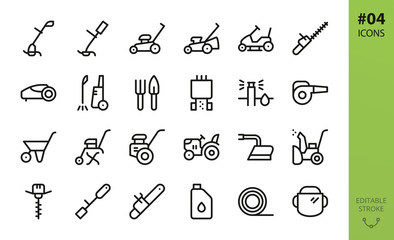 Garden tools icons set. Set of grass trimmer, lawn mower robot, high pressure washer, agriculture hand tiller, power gardening tool, snow plow, mini tractor, trolley, trimmer line isolated vector icon