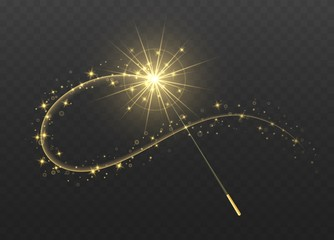 Fototapeta Magic wand with golden swirl and sparkles isolated on transparent background. The magic scepter with stardust trail. obraz