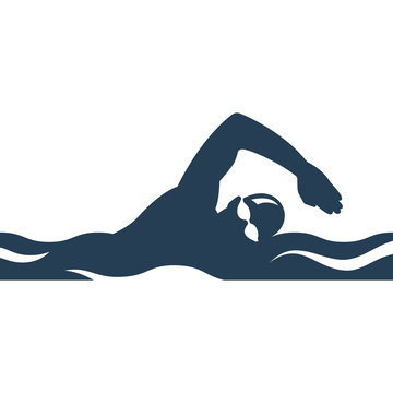 Swimming black silhouette. Athlete sports logo. Glyph icon freestyle swimmer glyph pictogram. Vector illustration flat design. Isolated on white background.