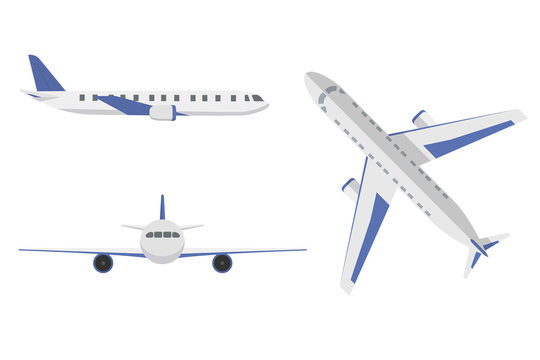 Flat airplane. Aircraft flight travel