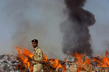 Officer from the Pakistan Customs walks past a burning pile of drugs during a ceremony to destroy confiscated contraband and goods unfit for human consumption on the outskirts of Karachi