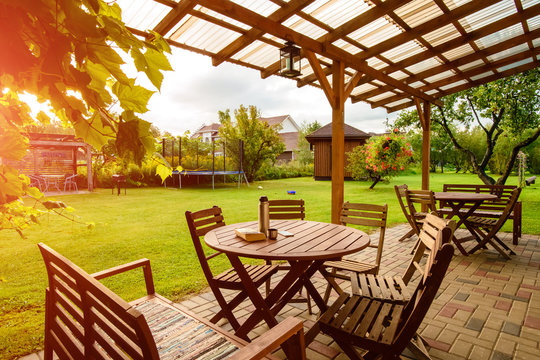 garden furniture on the lawn, a place to relax in the garden