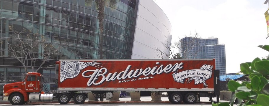 LOS ANGELES, California - April 27, 2018: Budweiser truck in front of the Staples Center