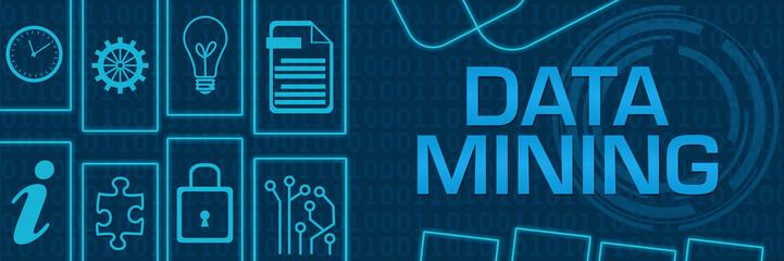 Data Mining Blue Neon Technology Shapes Horizontal