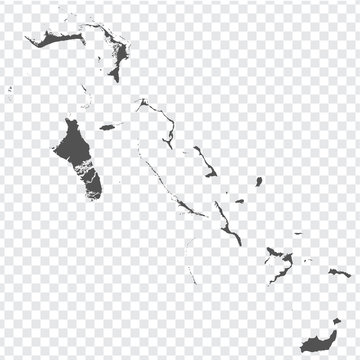 Blank map of Bahamas. High quality map Commonwealth of The Bahamas  with provinces on transparent background for your web site design, logo, app, UI.  America. EPS10.