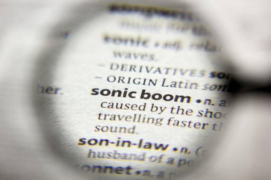 The word or phrase Sonic boom in a dictionary.