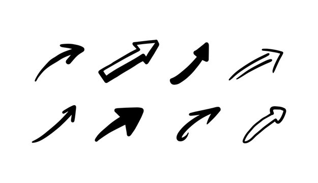 Hand drawn doodle arrows black icons set, sketch vector illustration isolated.