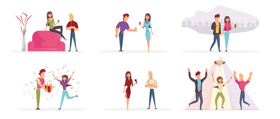 Young people having fun cartoon characters set. Happy friends partying flat vector illustrations pack. Cheerful men and women drinking and talking, sharing presents, taking pictures and dancing