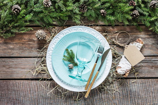 Rustic christmas or forest wedding table setting design