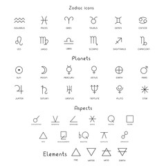 Obraz Zodiac sings astrology astronomy symbols, isolated icons - fototapety do salonu