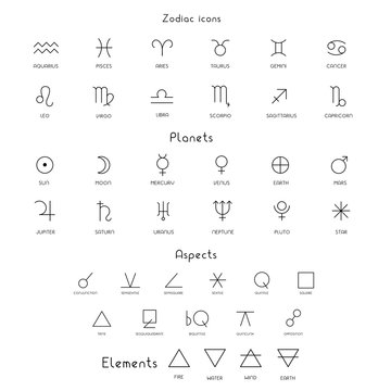 Zodiac sings astrology astronomy symbols, isolated icons