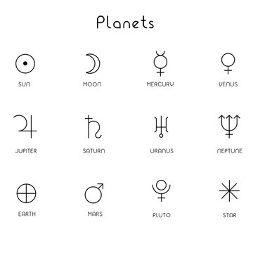 Planets in line art black and white color