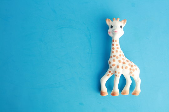 Saragossa Spain. September 18, 2018, Sophie is a small toy giraffe made by Vulli with natural hypoallergenic rubber and designed as a teether toy for babies who start to get their first teeth.