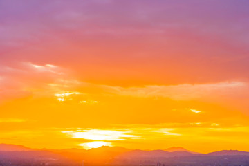 Türaufkleber Koralle Beautiful landscape with sunrise or sunset over mountain