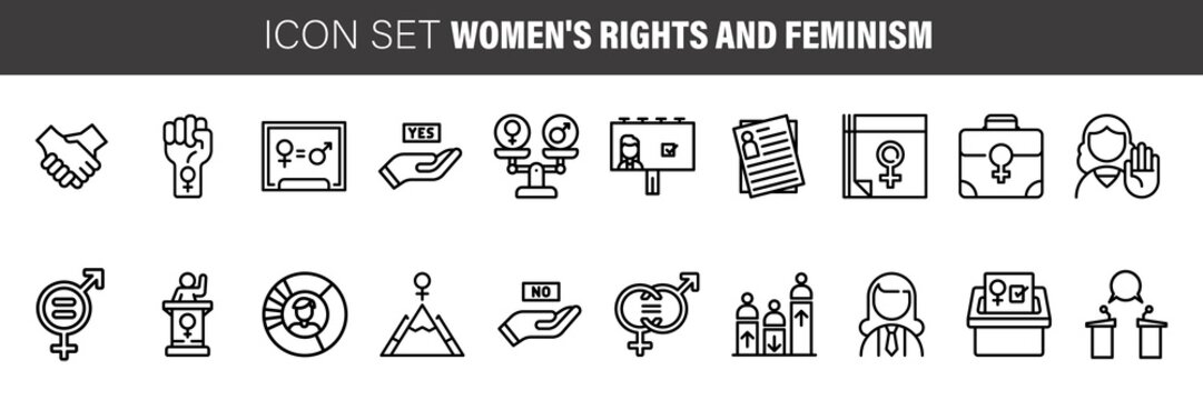 Feminism thin line icons set: women's rights, girl power, gender equality, sex dicrimination, me too, protest, girls are strong. Modern vector