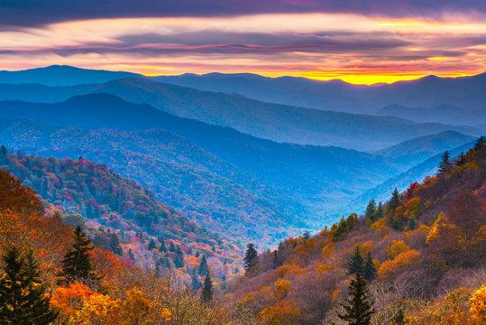 Smoky Mountains National Park, Tennessee, USA autumn landscape