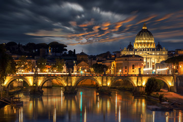 Aluminium Prints St Peters Basilica and the Angels Bridge after sunset