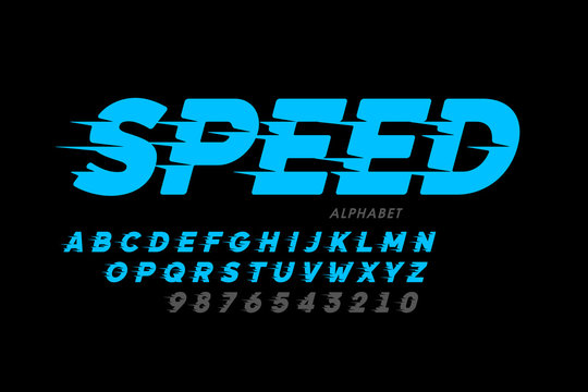 Speed style font design, alphabet and numbers