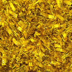 Abstract background, shiny golden tinsel