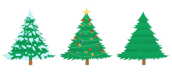 Cartoon christmas tree in three different situations