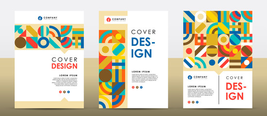 Set of colorful retro cover design template