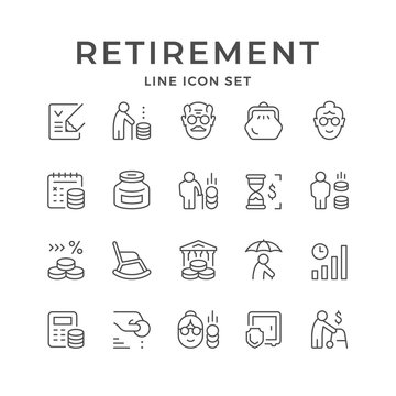 Set line icons of retirement or pension