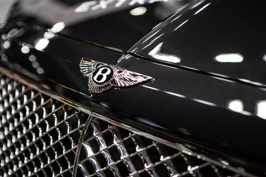 Bangkok, Thailand - December 06, 2019: Closed up of Bentley Logo on the front of Bentley Continental car.