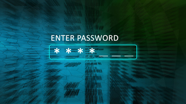 Enter password concept screen with a password box and asterisks. Abstract blurred background blue with green.