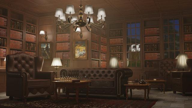 Bibliothek mit Kronleuchter