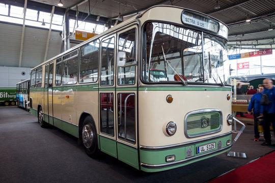 "STUTTGART, GERMANY - MARCH 03, 2017: City bus Setra S 125, 1966. Europe's greatest classic car exhibition ""RETRO CLASSICS"""