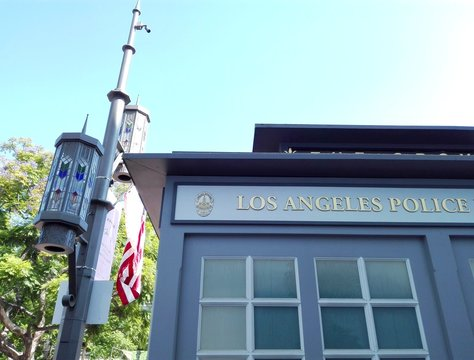 LOS ANGELES, California - September 8, 2018: LAPD Los Angeles Police at The Grove a retail and entertainment complex in Los Angeles