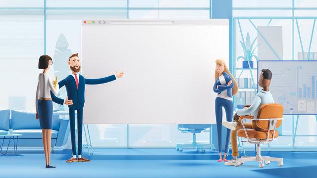 web develop and web design team . 3d illustration.  Cartoon characters. Business teamwork concept.