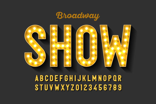 Broadway style retro light bulb font, vintage alphabet letters and numbers