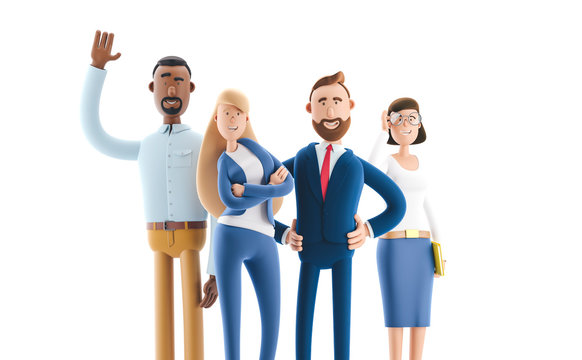 A working team of professionals. 3d illustration.  Cartoon characters. Business teamwork concept.