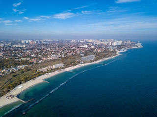 Beautiful arial view from drone of coastline of a developed city