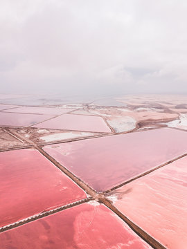 Salt Pink Lake from the aerial perspective. Walwis Bay, Namibia