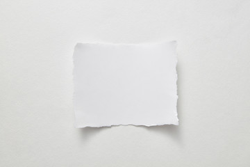 Empty sheet of paper presented on a gray paper background with copy space for text. Layout for your ideas. Top view