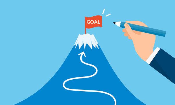 ゴールの旗と富士山、目標設定のイメージ