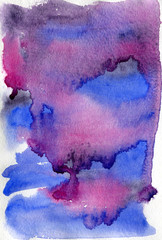 Abstract watercolor art in blue and violet