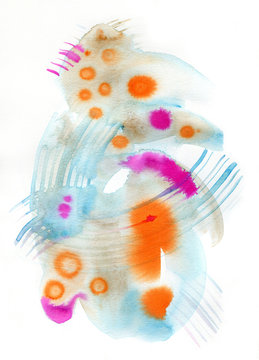 Abstract watercolor emotive painting in blue, pink and orange on white background