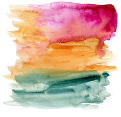 Bright pink, yellow and green watercolor strokes on white paper