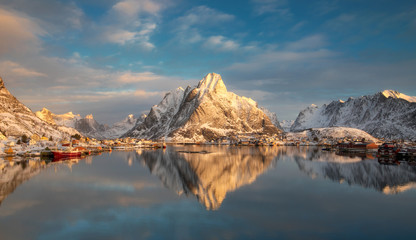 Panorama view of Reine at sunrise in winter
