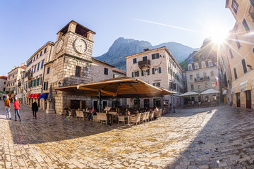Tranquil morning coffee time in the Old Town Kotor in Montenegro