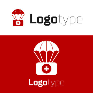 Red Parachute with first aid kit icon isolated on white background. Medical insurance. Logo design template element. Vector Illustration