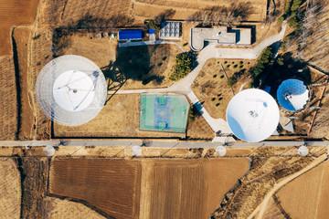 Aerial view of radio telescope
