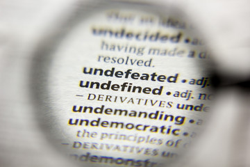 The word or phrase Undefined in a dictionary.