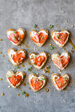 Heart shaped sandwich with strawberries and nuts