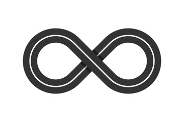 Infinity symbol. Eternal shape. Infinity road loop icon. Figure 8 Traffic Loop. Race track sign or logo. Highway intersection or interchange. Asphalt road. Transportation concept. Vector illustration Fototapete