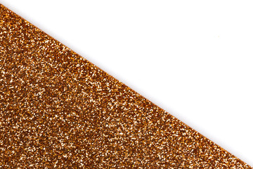 White and Gold glitter texture abstract background. Shape of the triangle