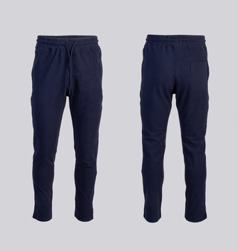 dark blue sweatpants Front and back view isolated on white background